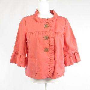 J. Crew pink cotton 3/4 sleeve blazer jacket 8